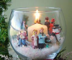 DIY wine glass Christmas scene