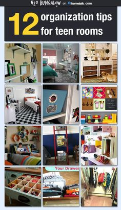 12 smart tips for organizing teen rooms is filled with budget friendly practical ideas for keeping a teen clutter free and organized in their bedroom. www.H2OBungalow.com