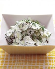 Cucumber salad, We've given this creamy recipe a healthy -- but barely detectable -- update. Reduced-fat sour cream (in place of full-fat) lowers the calorie count without losing taste.
