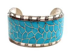 Carmichael Haloo, Wide Silver and Turquoise Inlay Cuff
