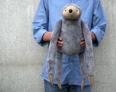 Grey Big Sloth stuffed animal toy for children by andreavida