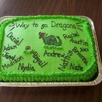 """This cake was made for the """"Dragon's"""" soccer team for their end of season soccer party."""