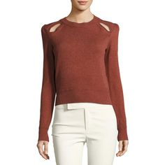 Etoile Isabel Marant KLEE SWEATER (2 185 SEK) ❤ liked on Polyvore featuring tops, sweaters, rust, women's apparel sweaters, crewneck sweater, pullover sweater, crew neck pullover, sweater pullover and long sleeve pullover sweater
