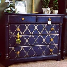 Chalk Paint® in Napeolonic Blue & Graphite on dresser by Carter's Cottage Interiors.