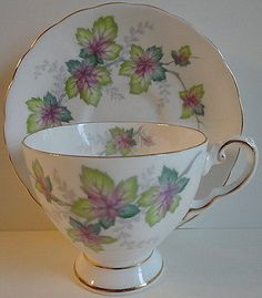 Tuscan English Bone China Cup Saucer #0189 Leaf Leaves Green Pink Purple Lovely