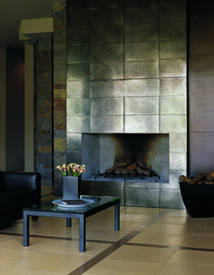 Steelworks metallic-infused porcelain tile on the fireplace surround. Great for contemporary or industrial spaces. From Walker Zanger. Fireplace: Accacio x Field Tile Metal Fireplace, Cozy Fireplace, Metal Tile, Fireplace Design, Fireplace Mantels, Images Of Fireplaces, Fireplace Headboard, Fireplace, Fireplace Tile