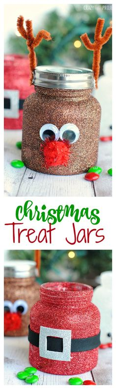 Perfect little treat jars for Christmas! Fill them with candy