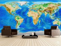 world map wall mural vinly wall mural Wallapeper by World Map Wallpaper, Photo Wallpaper, Flat Earth Proof, Continental Shelf, Pirate Maps, 3d Wall Murals, Treasure Maps, Peel And Stick Wallpaper, Artwork