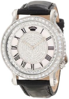 Juicy Couture Women's 1900991 Queen Couture Black Leather Strap Watch Juicy Couture. $297.89. Swarovski crystal set bezel. Mother of pearl dial set with swarovski crystals. Water-resistant to 30 M (99 feet). Oversized 42 mm stainless steel round case. Japanese quartz movemet