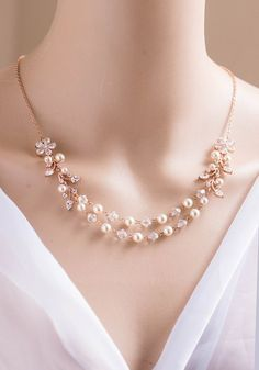 Bridal necklace, Bridal jewelry, Swarovski necklace PALOMA
