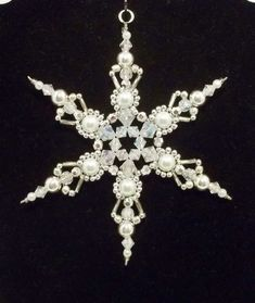 2014 DIY Ornaments Ideas - Snowflake Ornament  White Pearl Silver and