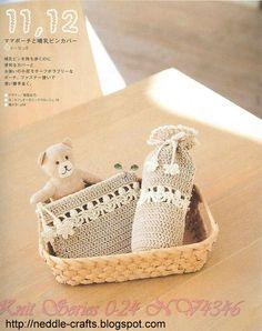 غطاء ببرونه كروشيه - baby tools in crochet Crochet Tools, Crochet Bebe, Bottle Carrier, Baby Bottles, Organic Baby, Elsa, Knitting, Crafts, Diagram