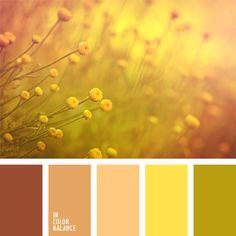 amarillo soleado, amarillo y beige, amarillo y verde, beige, color marrón anaranjado, color verde hierba, colores anaranjados cálidos, combinación de colores monocromática, elección del color, marrón pastel, oliva, paleta de colores monocromática.