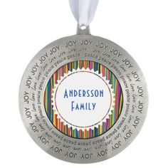 #stripes - #Colorful abstract stripes design pewter ornament