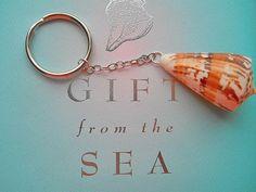 Seashell Keychain Ocean Cone Sea Shell by BeachHouseTreasures