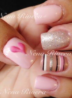 Cute nails..could substitute the pale pink for white might try this!!