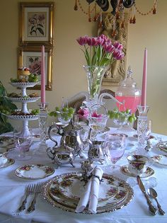 Tea Party. I'm thinking about having all of the tables set up with food and china and tea so that there's no buffet.