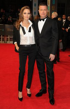 Brad and Angie tux it up at the 2014 BAFTAs