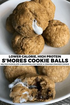 Protein cookies - Does it get any better than melted chocolate and marshmallows wrapped in graham cracker These protein cookie balls provide 7 grams of protein and satisfy cookie cravings like no other High Protein Desserts, Healthy Protein Snacks, High Protein Recipes, Protein Foods, Healthy Baking, Healthy Desserts, Protein Bars, Healthy Breakfasts, Protein Deserts