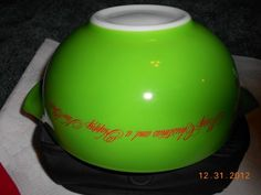 Vintage Pyrex Merry Christmas A Happy New Year Cinderella Bowl Old Holiday