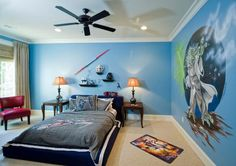 Bedroom: Green Wall Accent Colour Plus Creative Bookshelf And Small Nightstand Feat Modern Bedroom Ceiling Fan: