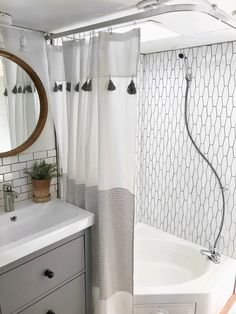 Bath Room, Track Lighting, Subway Tile Wall, Corner Shower, and Drop In Sink A renovated bathroom with a new showerstall and tiled wall. Diy Camper, Rv Campers, Camper Van, Diy Caravan, Camper Bathroom, Travel Trailer Remodel, Camper Renovation, Rv Interior Remodel, Camper Makeover