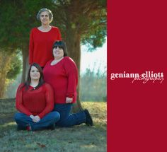 3 generations of women, three generations, mother/daugter/grandmother, matching shirts, fall photos, Christmas pictures, winter photography, family photography www.facebook.com/geniannelliottphotography