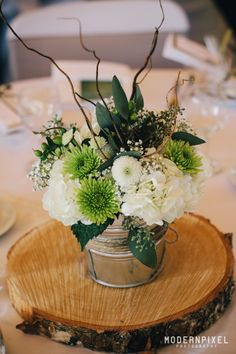 #vintage #green #white #wedding #centerpieces #flowers