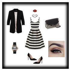 """""""Striped"""" by xnellyx on Polyvore featuring Mode, Miss Selfridge, Warehouse, Gianvito Rossi, Kate Spade, Wet Seal, Juicy Couture und Lime Crime"""