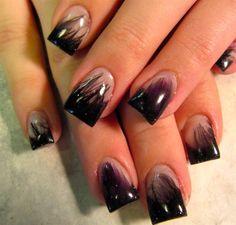 Black & Purple Feathers Nails  #nailart #nails #cutenails #bestnails