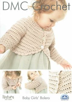 DMC Baby Girls bolero cardigan crochet pattern