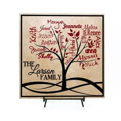 Custom Family Tree Sign Personalized with Names - Family Names, Grandkids Sign, Mother's Day Gift, Personalized Family Sign, Tile Sign by LEVinyl on Etsy (Valentins Day Signs Grandparents) Personalized Gifts For Mom, Personalized Signs, Personalized Ornaments, Family Signs, Family Names, Sculptures Céramiques, Tree Sculpture, Ideas Hogar, Idee Diy