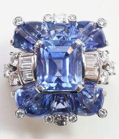 Oscar Heyman, Sapphire and Diamond Ring Sapphire Jewelry, Sapphire Diamond, Gemstone Jewelry, Jewelry Rings, Jewlery, Diamond Rings, Sapphire Rings, Head Jewelry, Ceylon Sapphire