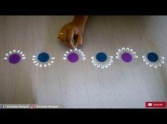New Creative and Unique easy border rangoli design using bangles for festivals a. Rangoli Side Designs, Easy Rangoli Designs Diwali, Rangoli Simple, Rangoli Borders, Free Hand Rangoli Design, Rangoli Patterns, Small Rangoli Design, Rangoli Ideas, Diwali Diy
