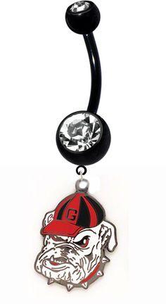 "Southern Sisters Designs - Georgia Bulldogs ""Bulldawg"" Belly Ring - Black TItanium, $14.95 (http://www.southernsistersdesigns.com/georgia-bulldogs-bulldog-belly-ring-black-titanium/)"