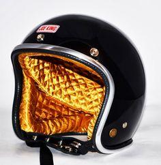 RocketGarage Cafe Racer: Joe King Helmet Motorcycle Equipment, Motorcycle Helmets, Cafe Racer Magazine, Harley Davidson Panhead, Helmet Paint, Biker Gear, Moto Bike, Pinstriping, Headgear