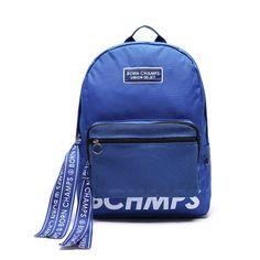 """유니온오브제와 본챔스의 콜라보 제품으로 본챔스의 레터링 테이프가 돋보이는 제품입니다. *EXO 찬열 착용 가방! UNION OBJET BORN CHAMPS X UNION OBJET TAPE MESH POCKET Blue EXO:Chanyeol's backpack : """"UNION OBJET X BORN CHAMPS BACKPACK"""""""