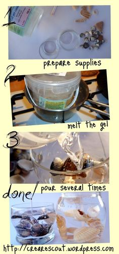 DiY Shell gel candle