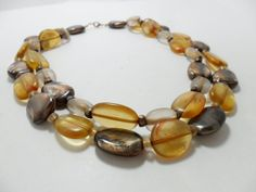 Vintage Necklace / Collar / Choker Amber Marbled by KathiJanes, $19.95