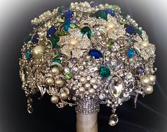 VINTAGE STYLE Green Blue Brooch Bouquet. Deposit on Crystal Bling Pearl Heirloom Keepsake Brooch Bridal Bouquet. Blue Green Turquoise Purple