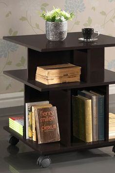 Another option for inside treatment room for clients jewels, candle, plant.  Warren Wheeled Modern Storage Shelf - Dark Brown  159
