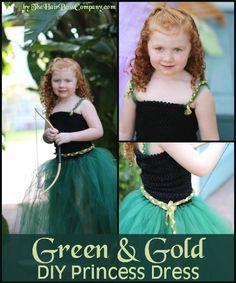 Green & Gold Princess Tutu Dress  l  TheHairBowCo.