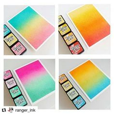 I'm so honoured! @ranger_ink reposted my blends! I'm blushing!  Thank you so much for your lovely products I'm having lots of fun with them!   #Repost @ranger_ink ・・・ LOVE all of these Distress Ink blends using the Minis by @thecoloursofmagic #TimHoltzDistress #DistressInks