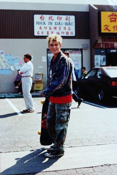Christian Slater on the set of Gleaming the Cube