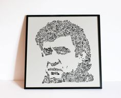 """Johnny Cash - Biographical Portrait of the man in black - Giclée Print - Limited Edition Intricate doodle portrait  Music Wall Art - 8"""" x 8"""" by DrawInside on Etsy"""