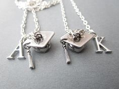 Items similar to 2 Graduation Cap, Initial Best Friends Necklaces on Etsy Bff Gifts, Grad Gifts, Collares Best Friends, Crown Tattoo Design, Stylish Alphabets, Graduation Jewelry, Friend Jewelry, Friend Necklaces, Heart Pendant Necklace