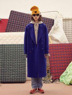 Low waist double coat Blue