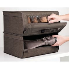 Large Fabric Closet Shoe Storage Box with Lid, Pack of 8 by mDesign Closet Storage Bins, Bedroom Closet Storage, Dresser Storage, Smart Storage, Fabric Storage, Storage Baskets, Modern Closet Organizers, Cube Furniture, Pvc Windows