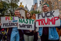 An estimate of ten thousand demonstrators took the streets of Manhattan on Wednesday night and converged outside Trump Tower in Midtown to protest the election of Donald J. Trump as president. As they weaved through the streets of midtown to get to Trump Tower at 57th Street and Fifth Avenue, protesters faced threats of arrest from NYPD for blocking vehicular traffic.