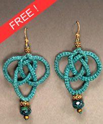 Waxed linen macrame Celtic knot earrings. Micro-Macrame Jewelry. Free tutorial.